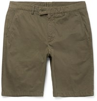 Aspesi Washed Cotton Twill Shorts Army Green