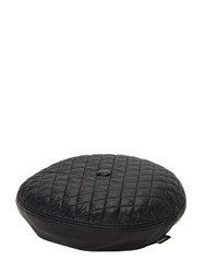 Borsalino Leather And Quilted Nylon Basco Hat Black