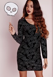 Missguided Long Sleeve Velvet Bodycon Dress Black Skull Black