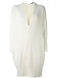 Malo Ribbed Mid Cardigan White