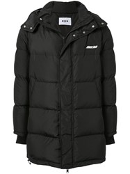 Msgm Quilted Hooded Jacket Black
