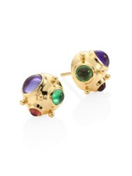 Temple St. Clair Small Cosmos Semi Precious Multi Stone And 18K Yellow Gold Stud Earrings Gold Multi