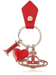 Vivienne Westwood I Love Orb Leather Key Chain Red