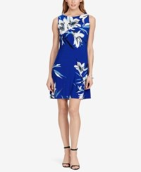 American Living Floral Print Jersey Dress Blue White