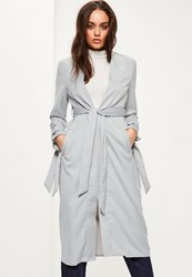 Missguided Grey Tie Cuff Collarless Duster Jacket