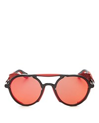 Givenchy 7038 Mirrored Round Sunglasses 50Mm Black Red Red Mirror Lens