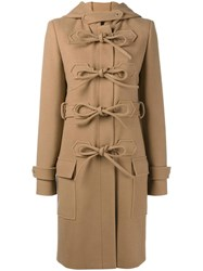 Balenciaga Hooded Lace Fastening Coat Nude And Neutrals