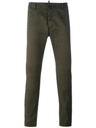Dsquared2 Creased Slim Fit Trousers Green