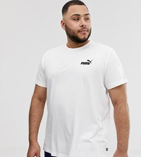 Puma Plus Essentials T Shirt With Small Logo In White