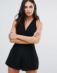 Love Pleated Bust Playsuit In Black Black