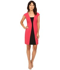Adrianna Papell Short Sleeve A Line Color Block Dress Flare Red Black Women's Dress Pink