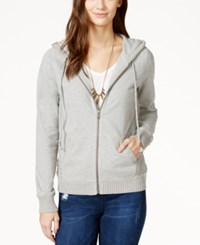 Lucky Brand Textured Detail Zip Up Hoodie