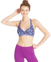 Roxy Medium Support Adjustable Seamless Print Sports Bra Blue Purple Dots
