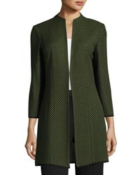 Ming Wang Long Sleeve Long Knit Jacket Green Black