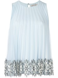Christopher Kane Pleated Sleeveless Top Blue