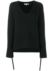 Helmut Lang Ribbed V Neck Sweater Black
