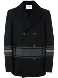 Ports 1961 Striped Double Breasted Coat Black