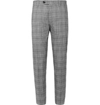 Mr P. Black Cropped Tapered Checked Cotton Blend Trousers Black
