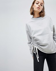 Allsaints Sweat Top With Ruched Tie Gray