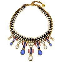 Ben Amun Woven Chain And Pearl Statement Necklace Gold