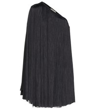 Saint Laurent Fringed One Shoulder Minidress Black