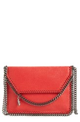 Stella Mccartney 'Mini Falabella Shaggy Deer' Faux Leather Crossbody Bag Red Cherry Silver
