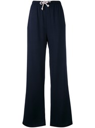Humanoid Drawstring Flared Trousers Blue
