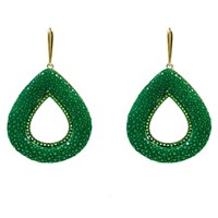 Latelita London Stingray Hollow Teardrop Earring Emerald Green Gold Green