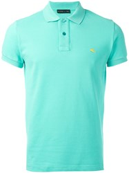 Etro Logo Embroidered Polo Shirt Blue