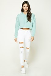 Forever 21 Distressed Skinny Jeans White