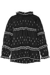 Etoile Isabel Marant Daniela Embroidered Linen Top Black