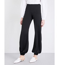 Paper London Coco Loose Fit Crepe Trousers Black