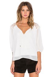 T Bags Losangeles 3 4 Sleeve Embroidered Top White