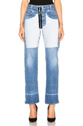 Off White Inlay Velvet Patch Jeans In Blue