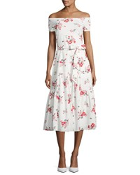 Rebecca Taylor Margurite Off The Shoulder Floral Jersey Midi Dress White
