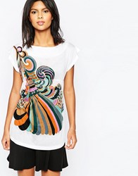 Pussycat London Tunic Dress In Rainbow Print White