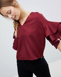 Parisian Top With Frill Sleeve Detail Red