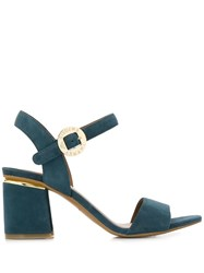 Emporio Armani Logo Buckled Sandals Blue