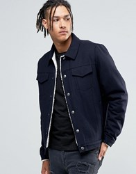 Asos Wool Mix Jacket In Navy With Borg Lining Navy