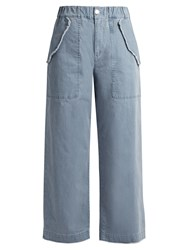 See By Chloe High Waisted Wide Leg Cotton Blend Trousers Light Blue