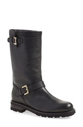 Anyi Lu 'Callie' Moto Boot Women Black Calf Tumbled