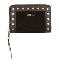 Claudie Pierlot Leather Studded Zip Around Wallet Black