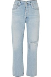 Citizens Of Humanity Mckenzie Distressed Mid Rise Straight Leg Jeans Light Denim