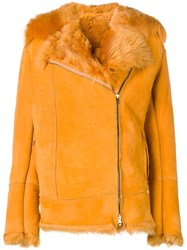 Salvatore Santoro Rabbit Fur Trim Jacket Orange