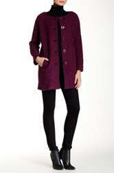 Luma Front Button Wool Blend Coat Purple