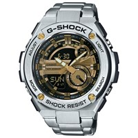 Casio Gst 210D 9Aer Men's G Shock Chronograph Day Bracelet Strap Watch Silver Gold