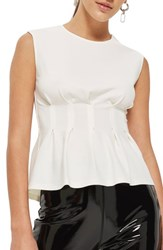 Topshop Cinched Waist Sleeveless Blouse Cream