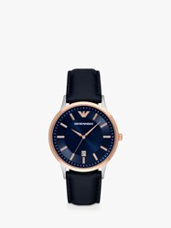 Emporio Armani Ar11188 'S Date Leather Strap Watch Navy