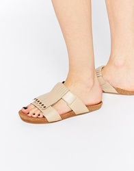 Asos Final Day Leather Fringed Mules Nude