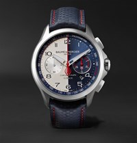Baume And Mercier Clifton Club Shelby Cobra Automatic 44Mm Stainless Steel Leather Watch Storm Blue
